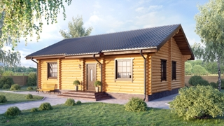 Проекты одноэтажных домов из бревна в Новосибирске