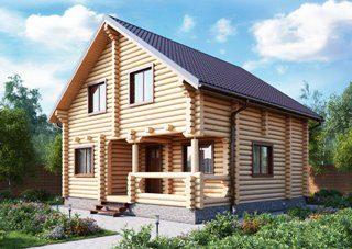 Проекты домов 7х9 из оцилиндрованного бревна в Новосибирске