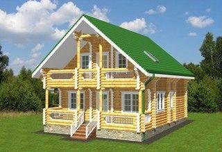Проекты домов 8х9 из оцилиндрованного бревна в Новосибирске