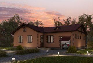 Проекты одноэтажных домов из кирпича в Новосибирске
