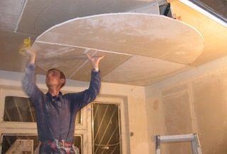 Фото процесса Монтаж потолка из гипсокартона в Новосибирске